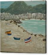 Boats On The Beach In Spain Canvas Print