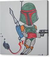Boba Fett Caricature Canvas Print