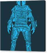 Boba Fett - Star Wars Art, Blue Canvas Print