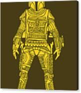 Boba Fett - Star Wars Art, Yellow Canvas Print
