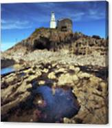 Bob's Cave At Mumbles Lighthouse Canvas Print