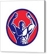 Body Builder Flexing Muscles Circle Retro Canvas Print