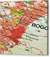 Bogota City Map. Canvas Print