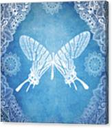 Bohemian Ornamental Butterfly Deep Blue Ombre Illustratration Canvas Print