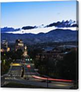 Boise Skyline In Early Morning Hours Canvas Print
