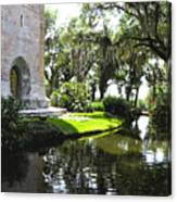 Bok Tower With Moat Canvas Print
