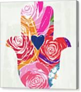 Bold Floral Hamsa- Art By Linda Woods Canvas Print