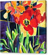 Bold Quilted Tulips Canvas Print