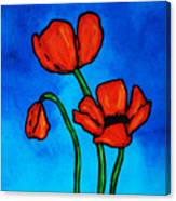 Bold Red Poppies - Colorful Flowers Art Canvas Print