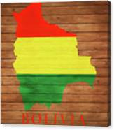 Bolivia Rustic Map On Wood Canvas Print