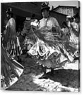 Bolivian Dance Black And White Canvas Print