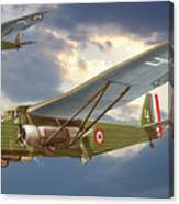 Bombers Farman 222 In Fighting Evening Flight. Canvas Print