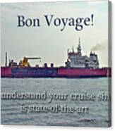 Bon Voyage Greeting Card - Enjoy Your Cruise Canvas Print