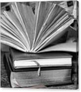 Books In Black And White Canvas Print