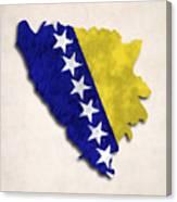 Bosnia And Herzegovina Map Art With Flag Design Canvas Print