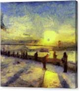 Bosphorus Sunset Art Canvas Print