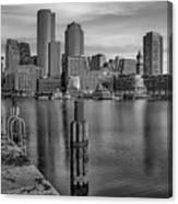 Boston Habor Sunrise Bw Canvas Print