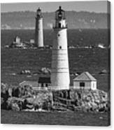 Boston Light With Graves Light Canvas Print