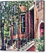 Boston Ma - Walking The Dog On Mount Vernon Street Canvas Print