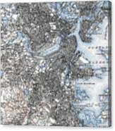 Boston Map, 1903 Canvas Print
