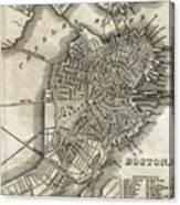 Boston Map Of 1842 Canvas Print