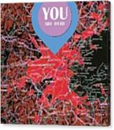 Boston Massachusetts 1948 Red Old Map You Are Here Canvas Print