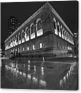 Boston Public Library Rainy Night Boston Ma Black And White Canvas Print