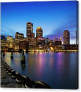Boston Skyline At Dusk Canvas Print