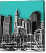 Boston Skyline - Graphic Art - Cyan Canvas Print