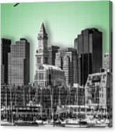Boston Skyline - Graphic Art - Green Canvas Print