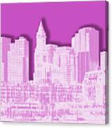 Boston Skyline - Graphic Art - Pink Canvas Print