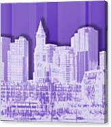 Boston Skyline - Graphic Art - Purple Canvas Print