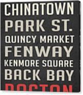 Boston Subway Stops Poster Canvas Print