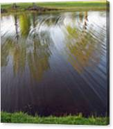 Grass On Both Sides With Water Between Canvas Print