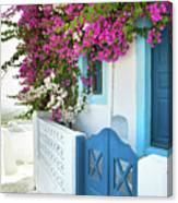 Bougainvillea In Santorini Island Canvas Print