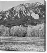 Boulder Colorado Flatiron View From Jay Rd Bw Canvas Print
