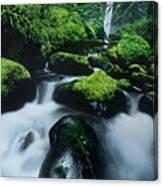 Boulder Elowah Falls Columbia River Gorge Nsa Oregon Canvas Print
