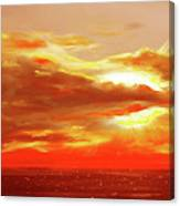 Bound Of Glory - Red Panoramic Sunset  Canvas Print
