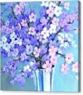 Bouquet In Silver Vase Canvas Print