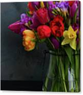 Spring Flowers In Vase Canvas Print