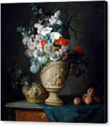Bouquet Of Flowers In A Terracotta Vase With Peaches And Grapes Canvas Print