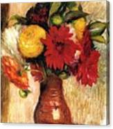 Bouquet Of Flowers In An Earthenware Pitcher Canvas Print