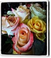 Bouquet Of Mature Roses At The Counter Canvas Print