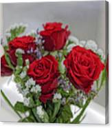 Bouquet of red roses with white carnations Canvas Print