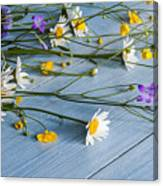 Bouquet Of Wild Flowers On A Wooden Canvas Print