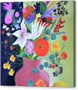 Bouquet With Dahlias And Blackberries Canvas Print