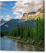 Bow River And Three Sisters Canmore Canvas Print