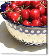 Bowl Of Cherries With Shadow Canvas Print