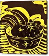 Bowl Of Fruit Black On Yellow Canvas Print