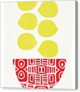Bowl Of Lemons- Art By Linda Woods Canvas Print
